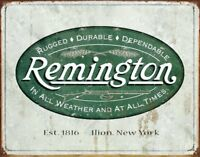 Remington Hunting In All Weather Vintage Logo Rustic Retro Tin Sign 13 x 16in