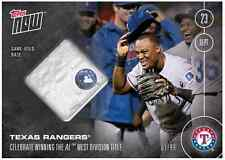 2016 Topps Now #498A Texas Rangers Clinch AL West GAME USED BASE RELIC 36/99