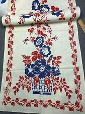 Vintage Linen Kitchen Toweling Towel Fabric Pretty Blue Red Kitchen Items