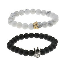 2x Charm Couple King & Queen His&her Distance Bracelets Matte Beads Crown Lovers
