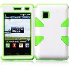 For TracFone LG 840g IMPACT TUFF HYBRID Case Skin Phone Cover White Green