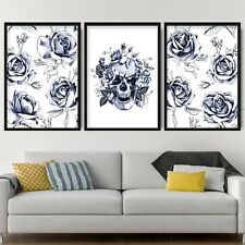 Set of 3 Navy Floral Abstract Rose Flower Skull Wall Art Print Picture Poster
