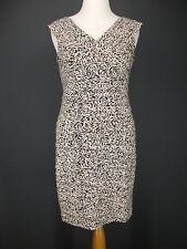 LONDON TIMES Dress 10 Black Floral White Liquid Knit Shutter Pleat Lined