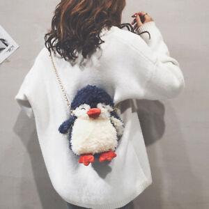 Penguin Plush Shoulder Bag Cartoon Animal Women's Crossbody Chain Handbag Gift