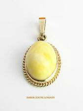 Italian Made Milky Butterscotch Baltic Amber Pendant in 9ct Gold  RRP£160!!!