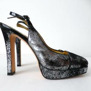 MIMCO Women's Shoes Pumps Size 41 Suede Slingback High Heels Black and Silver