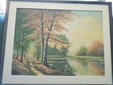 W. Beilich German oil painting on canvas, landscape with trees and lake signed