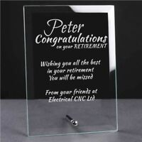 Personalised Engraved Retirement Glass Plaque - Retirement Gift Leaving Gift