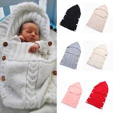 AU Newborn Baby Infant Knit Crochet Swaddle Wrap Swaddling Blanket Sleeping Bag
