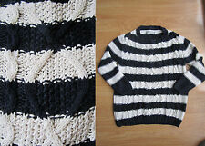 Ladies M&S Stripes Cable Knitted Jumper Sweater Top Size 8 Blue Beige Winter VTG