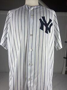Derek Jeter New York Yankees Majestic 6400 Sewn JerseyWhite/Navy Pinstripe XL