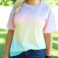 New Tie Dye T Shirt M Medium Pink Purple Dip Dye Ombre Short Sleeve