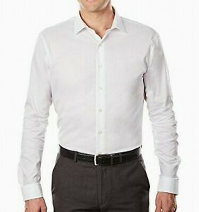 Kenneth Cole Unlisted White Slim Fit Mens Small S 14-14 1/2 Dress Shirt- #414