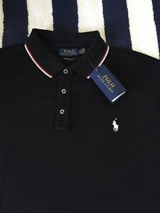 BNWT Mens Ralph Lauren Custom Slim Fit Black Polo Shirt In XL