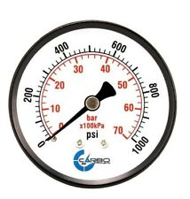 "2-1/2"" Pressure Gauge - Black Steel Case, 1/4""NPT, Back Mnt. 0-1000 PSI"