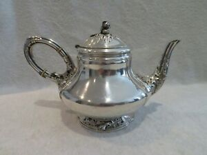 Magnificent & rare 1900 French sterling silver tea pot art nouveau thistles