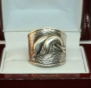 925 Sterling Silver Adjustable Dolphin Ring Size 8 to 9