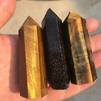 AAA+++ Natural Tiger eye jasper Quartz Obelisk Crystal Wand Point Healing 1pc