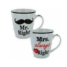 Mr Right and Mrs Always Right Gift Coffee Tea Mug Set - Set of 2 - Gift Box
