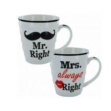 SIGNOR destra e la signora sempre ragione Regalo Tazza Da Caffè Tè Set-Set di 2-Scatola Regalo
