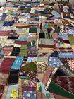 Antique+Victorian+Handmade+Hand+Stitched+Crazy+Quilt+63x78+twin+%23923