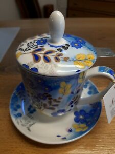 "Tea Logic Kräuterteetasse ""Nicole"" blau Porzellan mit Filter und Untertasse NEU"