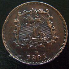 BRITISH NORTH BORNEO 1/2 HALF CENT 1891 H **HIGH GRADE COIN**