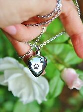 Pet Cremation Necklace Jewelry Pendant Urn for Ash Paw Print on My Heart Dog Cat