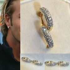 Mens18k white gold filled simulated diamonds pave hoop earrings, NEW DESIGN /UK