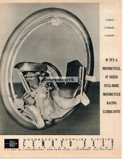 1967 Full Bore Racing Motor Oil 1-Wheel Motorcycle Vtg Print Ad
