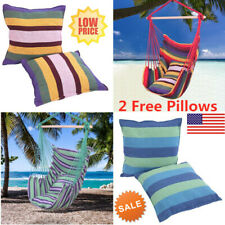 Hanging Rope Chair Cotton Canvas Swing Garden Bench Home Hammock + 2 Pillows Us