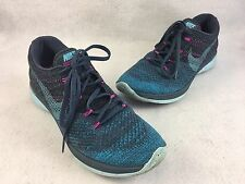 Nike Women's Flyknit Lunar 3 Dark Blue Purple Running Shoes Size 9.5 698182
