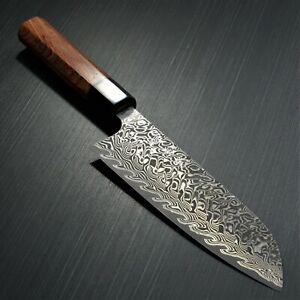 Japanese KATO YOSHIMI SG2 Damascus Black Finish Santoku Kitchen Knife Japan
