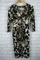 Jane Lamerton Shift Dress Black, Brown, Cream Print Sz 14