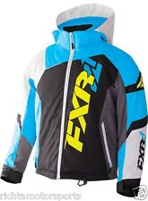 NEW FXR Youth Revo X Snowmobile Jacket ~ Blk/White Weave/Blu ~12~170406-1040-12