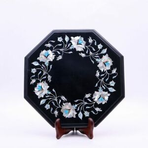Decorative Marble Top Side Table Mop Inlay Floral Design Handmade Patio Decor
