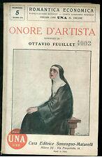 FEUILLET OTTAVIO ONORE D'ARTISTA' SONZOGNO 1924 ROMANTICA ECONOMICA 5