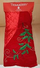 "Christmas Tree Skirt 48"" Diameter Trimmerry Holly Berry ShopKo 89G"