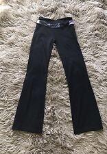 Lululemon Size 2 Wide Leg Black Purple White Band Yoga Pants Reversible