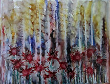 """Original painting 11x14"""" CANVAS red flowers gold silver garden by Lynne Kohler"""
