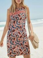 NEXT Pink Floral Print Linen Blend Shift Dress Size 16 Tall Summer  Beach