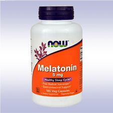NOW MELATONIN 5MG (180 VEGETARIAN CAPSULES) helps sleep cycle high potency