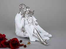 Formano Figur Paar sitzend Dekofigur Deko Skulptur 27 cm weiß silber