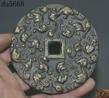 Collect Chinese Old Dynasty Palace Bronze Dragon Totem Ancient Money coins Bi