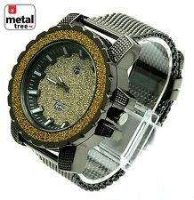 Men's Hip Hop Fashion Analog Stainless Steel Metal Mesh Band Watches 8023 HE