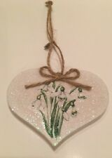 Floral Snowdrop Hanging Decoration Shabby Chic Country Vintg Decals Handmade X 1