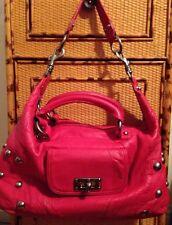 Betsey Johnson Red Leather Studded Large Shoulder Bag  Handles Shoulder Strap