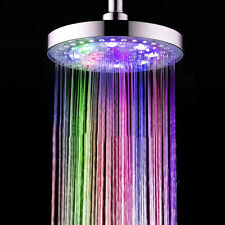 "8"" LED Light Rain Shower Head 7Color Changing Home Bath Bathroom Round Head"