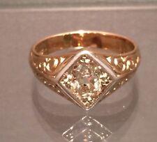 Ring mit ovalem Diamantschliff ca. 1,1 ct. 14 K/585er Gelbgold Gr.59 ANTIK