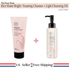 The Face Shop Rice Water Bright Foaming Cleanser 150ml + Light Cleansing Oil 150